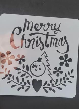 """Трафарет на окна к новому году """"Merry Christmas"""" -"""