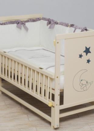 Детская кроватка Мишка ТМ Дубок (маятник, откидная боковушка, ...