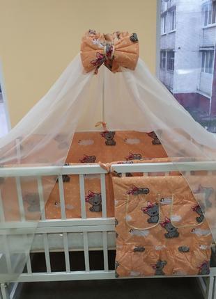 Защита в кроватку Мишки Teddy защита на 4 стороны + балдахин
