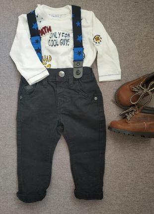 Штаны с подтяжками next/ штаны 3-6 мес/ штаны для мальчика/ шт...