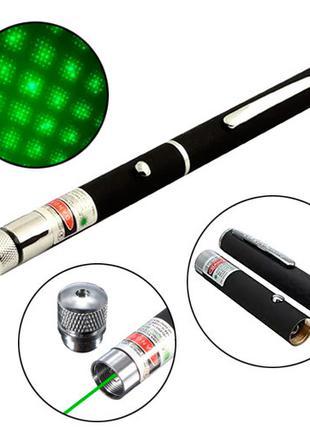 Лазер зеленый 5мВт 532нМ, лазерная указка на батарейках, насадка
