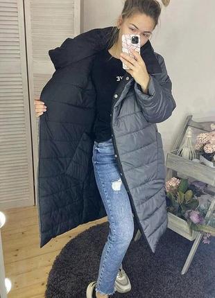 Стильное пальто пуховик куртка в стиле zara на две стороны дву...