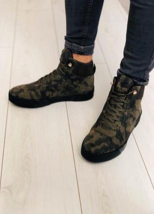 Lux обувь! камуфляжные зимние натуральные кожаные ботинки мужские