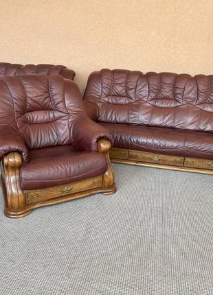Шкіряний комплект 3+2+1 шкіряний диван кожаный комплект