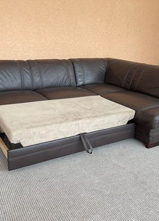 Шкіряний куток розкладний диван кожаный диван угловой диван
