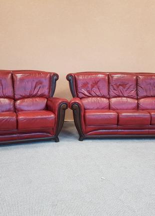 Шкіряний комплект 3+2 кожаный диван б/у диван кожаная мебель