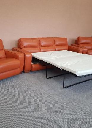 Шкіряний комплект шкіряний диван кожаный комплект розкладний д...
