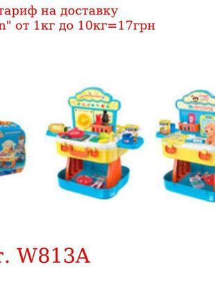 Набор игровой W813A (8шт) 2вида(кухня/парикмахер),зв,св,бат, ч...