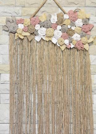 Настенный декор для дома из джута и мешковины