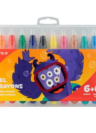 Крейда гелева 12 кольорів (6+6 з гліттером) Jolliers, KITE
