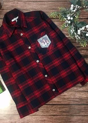 Модная рубашка в клетку для стильной девченки))