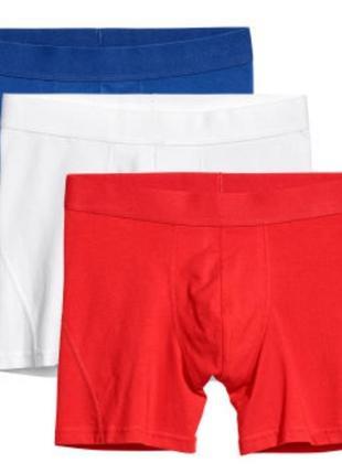 Набор 3 шт мужские трусы боксеры биохлопок бренд h&m швеция р. xl