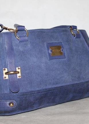 Modalu замшевая+кожаная сумка на три отделения