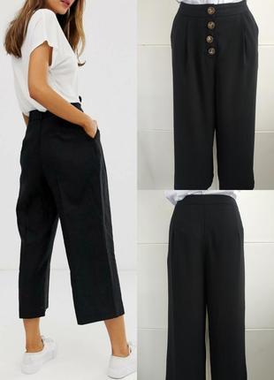 Стильные брюки-кюлоты primark базового черного цвета с пуговицами
