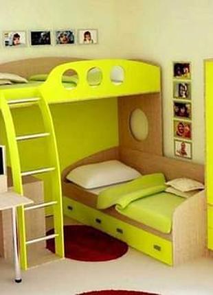 Двухярусная кровать со столом и шкафом