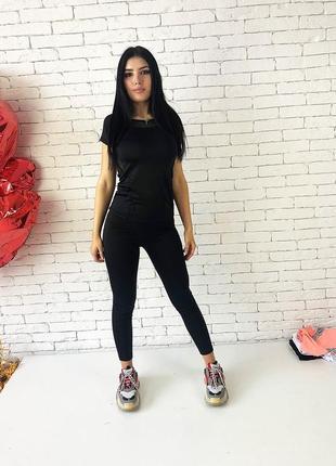 Фитнес костюм (футболка и лосины с высоким  поясом)