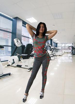Костюм для фитнеса (лосины + футболка)