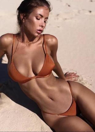 Качественный коралловый открытый купальник бикини шторки с пор...