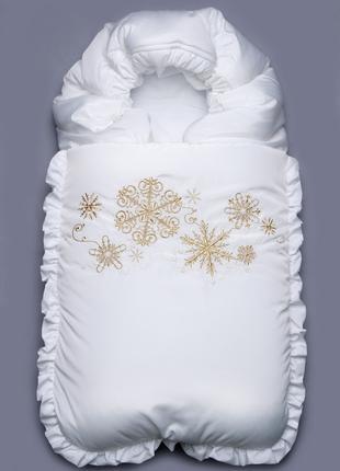 """Зимний конверт для новорожденного """"Снежинка"""" белый"""