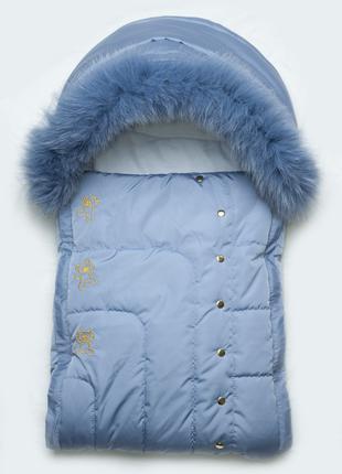 Зимний конверт «Мишки-топтыжки» для новорожденного с натуральн...