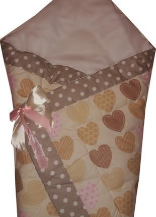 """Летний конверт-одеяло """"Сердце бежевое"""" на выписку, в коляску, ..."""