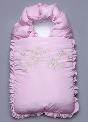 """Зимний конверт для новорожденного """"Снежинка"""" розовый"""