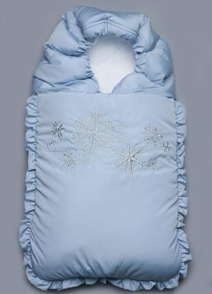 """Зимний конверт для новорожденного """"Снежинка"""" синий"""