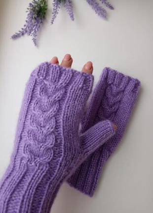 Митенки вязаные ангора теплые перчатки для сенсорных экранов р...