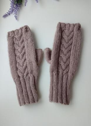 Митенки вязаные ангора теплый перчатки для сенсорных экранов р...