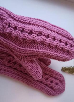 Вязаные варежки рукавицы теплые ручная вязка