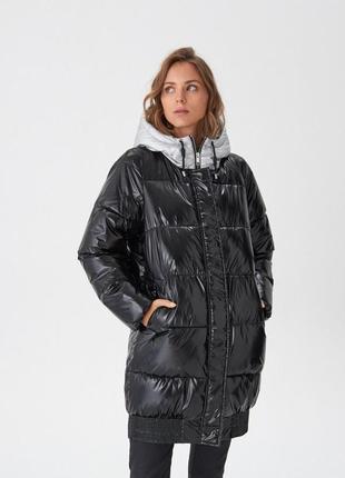 Новая женская тёплая лаковая куртка пальто с капюшоном house