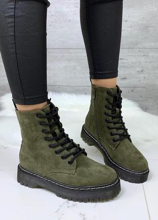 Зимние ботинки мартинсы,замшевые высокие ботинки на толстой по...
