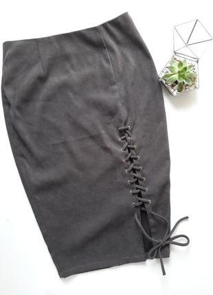 Шикарная юбка под замш со шнуровкой