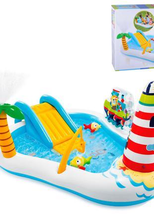 """Детский надувной игровой центр """"Веселая рыбалка"""" 57162 с горкой"""
