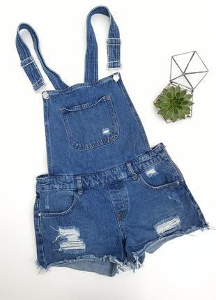 Синий джинсовый комбенизон ромпер шорты с рваностями