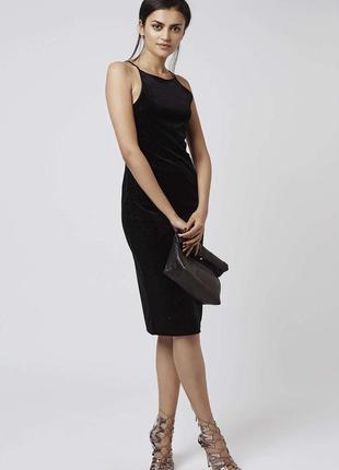 Идеальное велюровое черное платье с блестками с мерцанием корп...