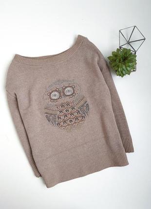 Песочний свитер с совой с паетками