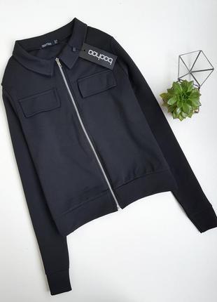 Черный бомбер пиджак неопрен