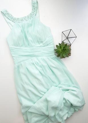 Мятное вечернее платье в пол длинное