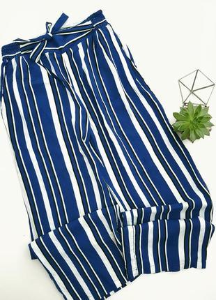 Брюки штаны на высокой талии в полоску синюю