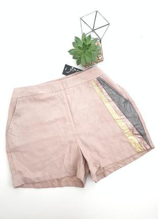 Пудровые розовые шорты из искуственной замши с кожаными цветны...
