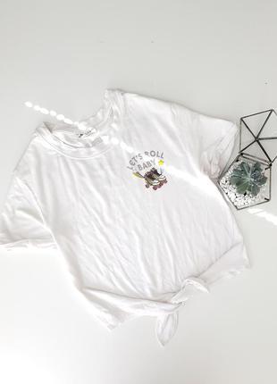 Белая футболка со слоганом lets roll baby