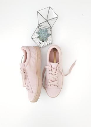 Базовые пудровые кеды кроссовки из искуственного замша