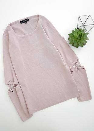 Лиловая нежно розовая кофта с красивым рукавом на шнуровке