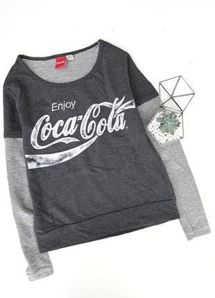 Свитшот серый футболка лонгслив coca-cola
