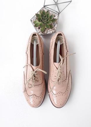 Розовые пудровые броги туфли на шнурках