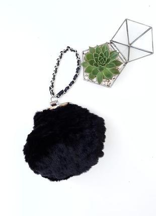 Меховая сумочка клатч цепочка