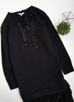 Обьемное платье свитшот с фатиновой черной юбкой на шнуровке