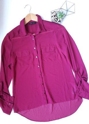 Шифоновая рубашка цвета марсала бордо