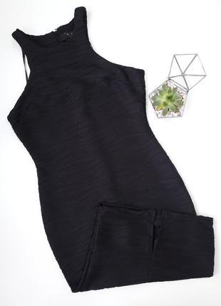 Черное фактурное платье миди